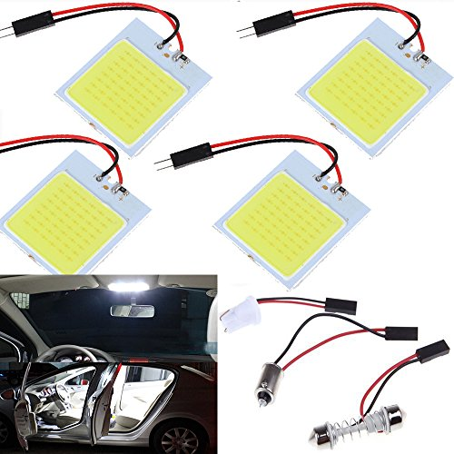 Everbright 4er Pack Super Weiß Neue stromsparende COB 48-smd LED Panel Dome Lampe Auto Auto-Innenraum-Lesung Teller Light Dach Deckenleuchte Innen Wired Lampe mit 4 Bilder BA9S-Adapter, 4 Bilder T10 Adapter, 4 Bilder Soffitte Adapter (31 mm-41 mm) (dc-12 V) (Temperatur ändern Led-lampen)