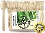 BAMBOODLERS Cucharas De Madera Desechables | 100% Natural, Ecológicos, Biodegradables y Compostable- ¡Porque la Tierra es un Lugar Asombroso! Paquete de 100 cucharas (15 cm)