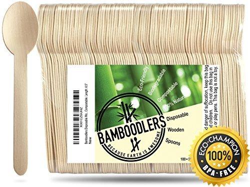 BAMBOODLERS-Einweglöffeln aus Holz | 100 % natürlich, umweltfreundlich, biologisch abbaubar und kompostierbar - denn die Erde ist großartig! Packung mit 100 - ca. 16,5 cm lang