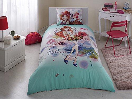 Original Winx Bloom Juego de Funda Nórdica, Para cama individual de 90 a 105 cm, 100% algodón, 3 Piezas