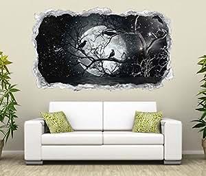 3D Wandtattoo Vollmond Raben Baum Halloween Wand Aufkleber Durchbruch Stein selbstklebend Wandbild Wandsticker 11N772, Wandbild Größe F:ca. 140cmx82cm