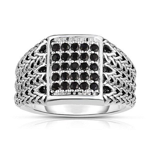 Sterling Silber-Größe R 1/2Rhodium Finish 3-10mm glänzend gewebt Ring 0,57ct Saphir schwarz rund 1.6mm (Birthstone Prime Ringe)