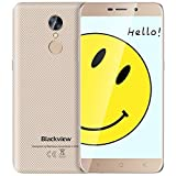 Blackview A10 Cellulari Offerte, 5.0 pollici, Quad-Core 2GB RAM 16GB ROM, Batteria 2800mAh Smartphone Dual SIM, Fotocamere 2MP + 5MP, Android 7.0 Smartphone in Offerta, Fingerprint/Wifi - Oro