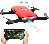 GoolRC One-handed Controller T47 6-Axis Gyro WIFI FPV Drone With Camera 720P HD Foldable Quadcopter G-sensor RC Toys Selfie Drone RTF With TWO Batteries & Protective Case