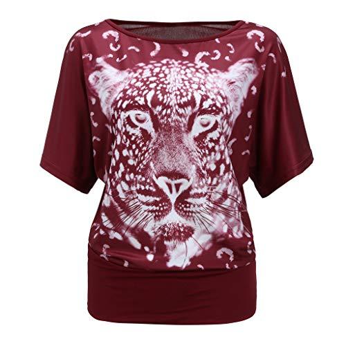 SEWORLD Oberteil Damen Sommermode Tierdruck O-Ausschnitt Kurzarm Lässige Tops T-Shirt Bluse Trägershirt Tank Top Blusen T-Shirt Tunika Tee Oberseiten Hemd kostüme(Rot,EU-40/CN-M) -