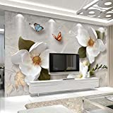 Amazhen Benutzerdefinierte Mural tapete 3D Stereo Blumen Schmetterling Fresco Moderne einfache Wohnzimmer tv Sofa Hintergrund tapeten für 3 d,350cm*260cm
