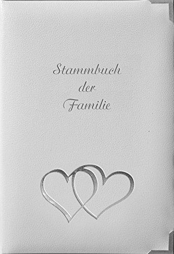 Stammbuch ZYPERN, weiß, Designmaterial, Silberprägung, Herzen, Stammbuchformat (70124R)