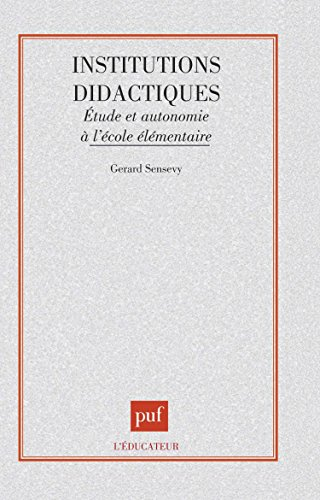 Institutions didactiques, 1re dition