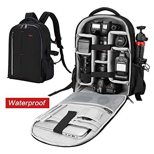 ESDDI Kamera Rucksack Wasserdicht Stoßfest Mit Gepolsterten Spezialeinteilungen für Objektive, Laptop, Stativhalter und DSLR-Kameras