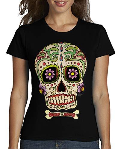 latostadora - Camiseta Calavera Mexicana !!! para Mujer Negro S