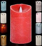 LED Echtwachskerze Kerze Farbauswahl Timer flackernde Wachskerze Kerzen Batterie, Farbe:Rot, Größe:15 cm