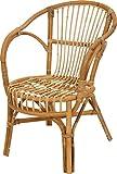Klassischer Flecht-Sessel im skandinavischem Stil / Korb-Stuhl aus ungeschältem Natur-Rattan