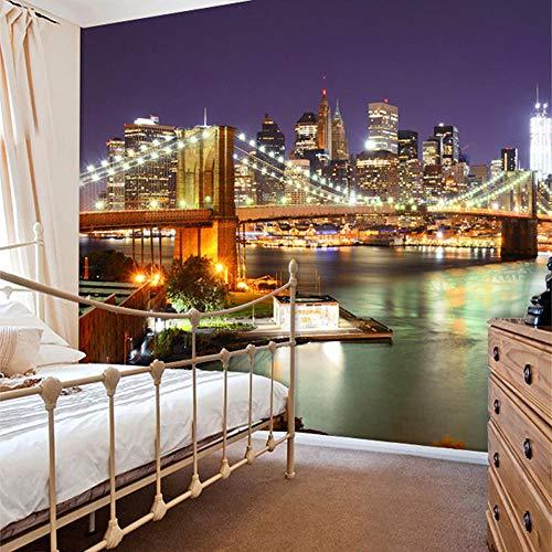 3D tapete Wandbilder Brauch New York City Nacht Modernes Restaurant Wohnzimmer Schlafzimmer Wohnkultur Zimmer Roll Landschaft 350x256cm