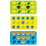 bessmate Premium Silikon Candy Formen & Silikon Eiswürfelschale–3PCs Sternen und Herzen und Muscheln Formen–Zubereitung von Selbstgemachter Schokolade, Jelly, Gummy, Seife, Kinder Spielzeug–Grün/Gelb/Blau