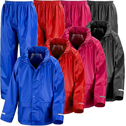 Kids Waterproof Jacket & Trousers Suit In Black, Pink, Red or Royal Blue Childs Childrens Boys Girls