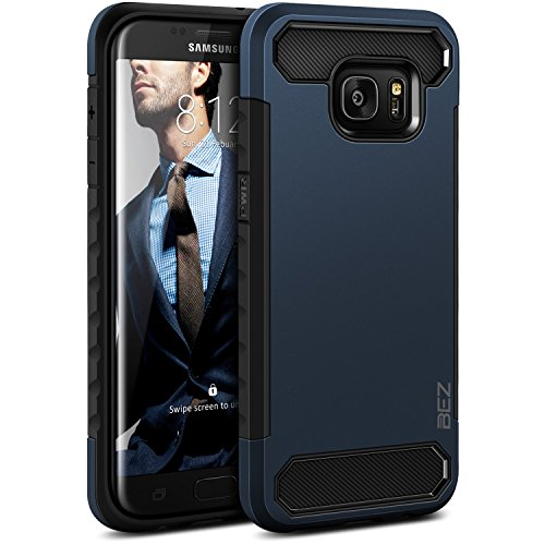 BEZ Hülle für S7 Edge Handyhülle, Handyhülle Kompatibel für Samsung Galaxy S7 Edge Outdoor Stoßfestes Hülle[Heavy Duty] Dual Layer Armor Hüllen [Shockproof] Robuste Schutzhülle, Blaue Marine -
