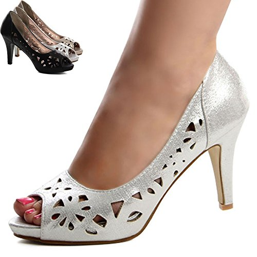 Topschuhe24 577 peep toe escarpins femme Noir - Noir