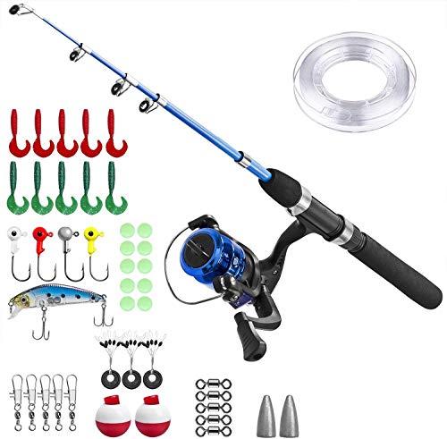 Canna da Pesca Bambino,Set da Pesca per Bambini,Set di Canne da Pesca per Bambini con Mulinello da Pesca ed Esca(Manico nero)