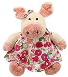 Lashuma Kuscheltier Schwein Rosa, Sitzendes Plüschtier Schweinchen 17 cm, Schlenker Stofftier Angezogen in Kleid