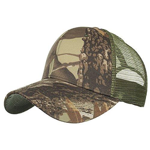 Camouflage Mesh-hut (Knowin Kappe Unisex Sommer im Freien Baseballmütze Snapback Leaf Camouflage einstellbare Hut Baumwolle Eimer Kappe Einstellbar Fischer Washed Cotton Flache Kappe)
