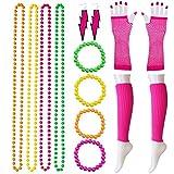 VWH Frauen 80er Jahre Party Kostüm Outfit Outfit Set Neon Armband Perlen Beinlinge Fischnetz Handschuhe Kit(Rose Rot)