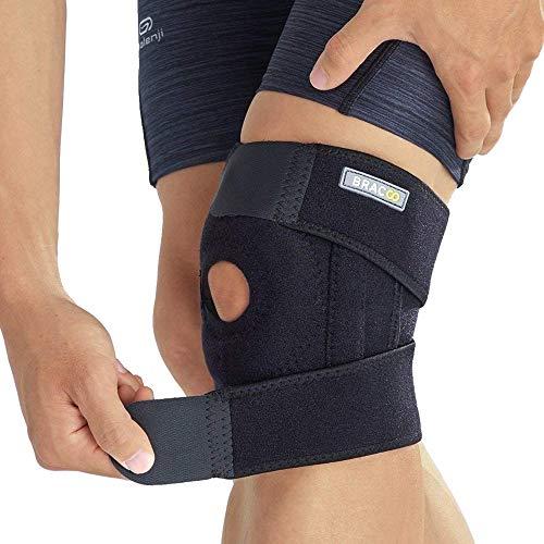 BRACOO KP30 Kniebandage mit Verstärkung - Knieschiene - Knieschutz mit Klettverschluss, Patellaöffnung und Seitenstabilisatoren für extra Halt bei Meniskusbeschwerden