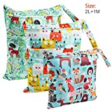 Wet Bag, BelleStyle Nappy Bag, Wet Dry Bag, Reusable Produce Bags, Wet Suit Bag, Waterproof Washable Hanging Large Two Zippered Pockets for Baby Diaper, Travel, Beach, Pool, Daycare, Gym Bag - 3 Pcs