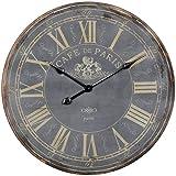 FineBuy Deko Vintage Wanduhr XXL Ø 60 cm Paris Holz schwarz römische Ziffern | Große Uhr rustikal Dekouhr rund | Design Retro Küchenuhr für Küche & Wohnzimmer