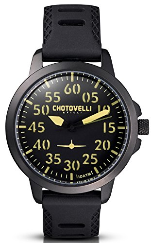 Chotovelli - Herren Pilotenuhr -3D Zifferblatt- schwarz Silikonband 33.2