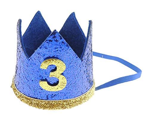 Hübsche Krone für Babys, Jungen, Mädchen, Glitzer 3 Jahre Geburtstag -