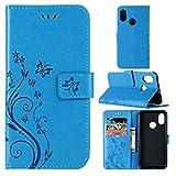Für Xiaomi Mi 8 Hülle, ZCRO Handyhülle Leder Case Elegant Blumen Muster Flip Cover Hüllen Tasche mit Magnet Kartenfach Multifunktion Silikon Bumper Handytasche Bookstyle Schutzhülle Wallet Case Brieftasche Lederhülle Etui Schale für Xiaomi Mi 8 (Blau)