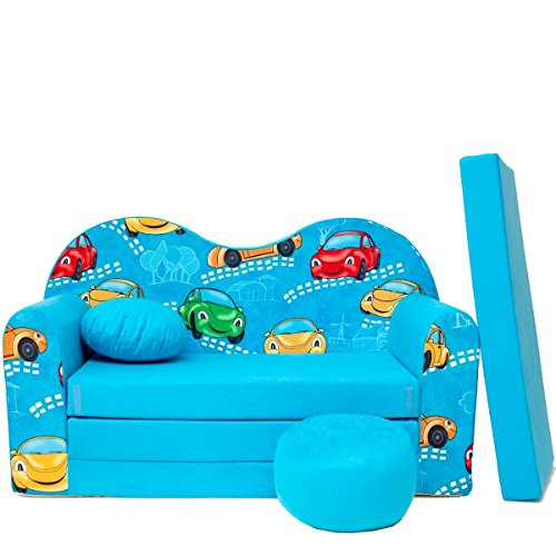 Barabike B11-b pour Enfant Canapé bébé Canapé Mini Canapé Canapé lit Pouf Lot de 3 en 1 d'oreillers en Mousse