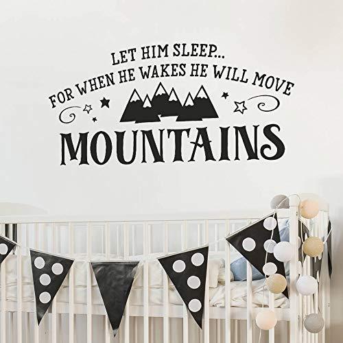 Dozili Wandaufkleber für Kinderzimmer, Vinyl, Aufschrift Let Him Sleep for When He Wakes He Will Move Mountain, 89 x 33 cm (Me Desserts Despicable)