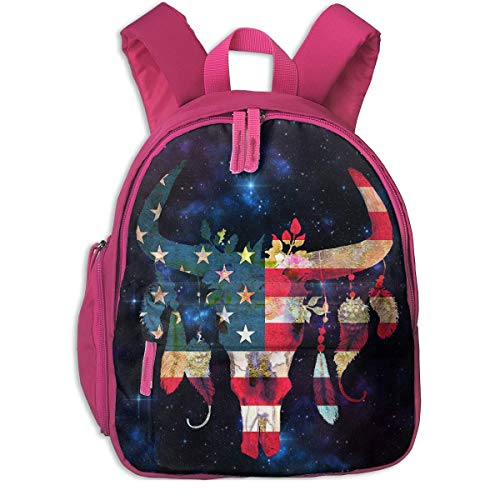 Retro US American Flag Bull Skull Kid Lightweight Canvas Travel Backpacks School Book Bag -