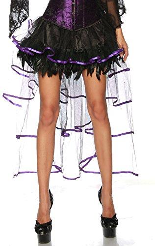 jowiha® Burlesque Volant Rock aus Satin, Tüll & Federn Größe One-Size 2 Farben Schwarz oder Schwarz/Lila (Schwarz/Lila) Einheitsgröße (Kostüme Halloween Burlesque Frauen Für)