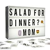 Licht Box Led - A4 Leuchtschilder mit 124 Schwarz Buchstaben, Emoji, Symbole,...