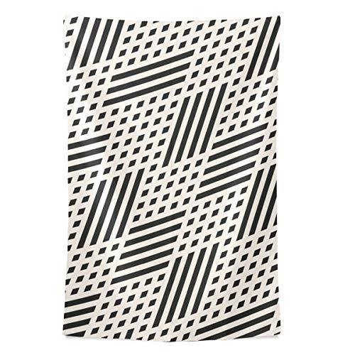 Schwarz Weiß Plaid Textur Wandteppich Wandbehang Cool Post Print Für Wohnheim Home Wohnzimmer Schlafzimmer Tagesdecke Picknick Bettlaken 80 X 60 Zoll (Und Tagesdecke Chevron Weiß Schwarz)