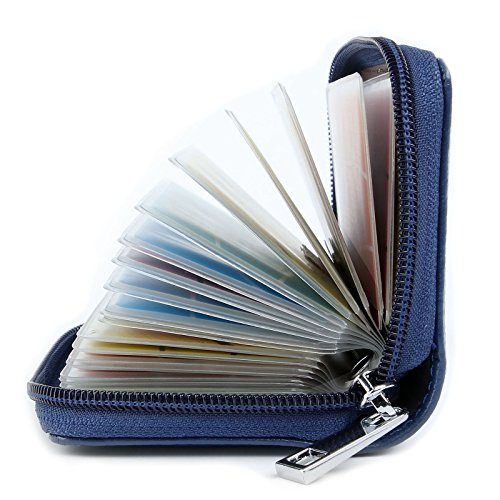 AirZyx Kreditkartenetui Damen Herren Leder RFID Schutz Reißverschluss (Blau)