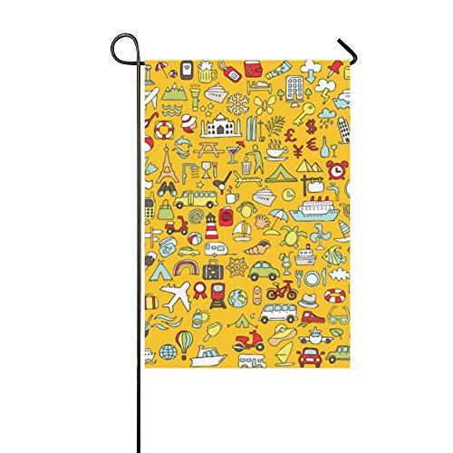 JOCHUAN Wohnkultur Big Doodled Travel Tourismus Icons Sammlung Garten Flaghouse Yard Flaggarden Yard Decorationsseasonal Willkommen Outdoor Flagge 12X18 Zoll