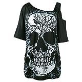 Trydoit T-Shirt à Manches Courtes pour Femmes AU Large des éPaules ImpriméEs Tête de Mort Chemisier Pull Court (S)