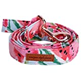 Rosa Hundehalsband und Leine Set mit Fliege für große und Kleine Hunde Baumwollgewebe Kragen Rose Gold Metall Schnalle Haustier Zubehör Leash M