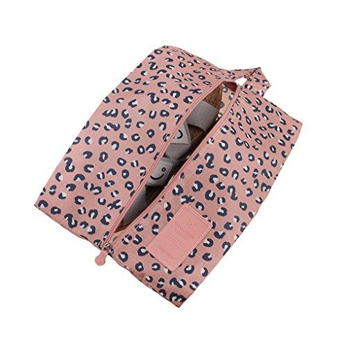 Haute Qualité Sac de Rangement Portable Trousse de Toilette Sac de sous-Vêtement/Chaussures Oxford Imperméable Organisateur Voyage avec Fermeture Zippé - Rose