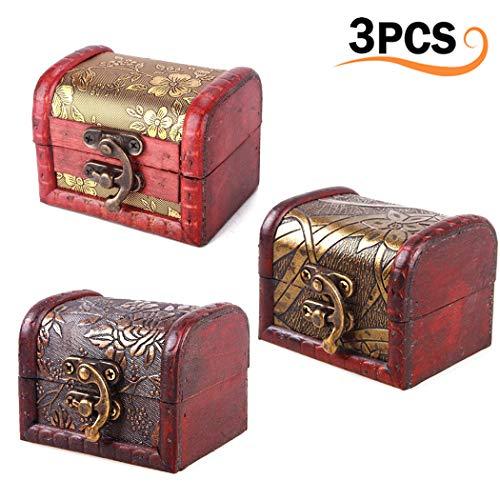 Merysan 3pcs vintage handmade treasure lock piccola scatola di legno, gioielli collana di perle bracciale portaoggetti in legno di scatola regalo (modelli misti) upgrade style