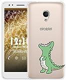 Sunrive Für Alcatel 1X Hülle Silikon, Transparent Handyhülle Schutzhülle Etui Case für Alcatel 1X 5059D(TPU Dinosaurier)+Gratis Universal Eingabestift