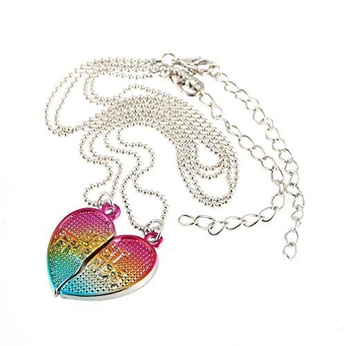 NiceButy 2pcs / Paire Coeur Amis amitié Colliers chaîne pour Femmes Bijoux pour Hommes Bijoux Cadeau de Noël Amis