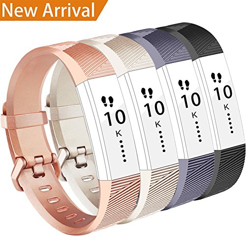 Fitbit Alta HR Armband,Vancle Fitbit Alta Armband Weiches Sports Ersetzerband Silikagel Fitness Verstellbares Uhrenarmband für Fitbi Alta und Fitbit Alta HR (#4 Champagne+Rose Gold+Black+Grey, S)