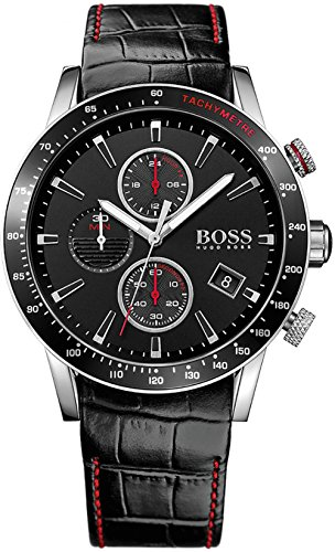 Hugo Boss 1513390 - Reloj analógico de cuarzo para hombre, correa de piel negra de 44 mm