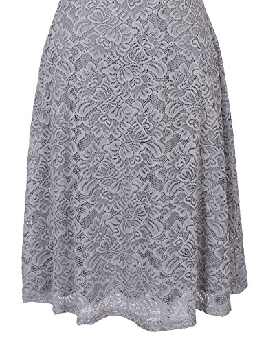 Abendkleid Vintage Off Schulter Knielang A-Linie Cocktailkleid Retro Spitzen Kleid Damen Silber-Grau