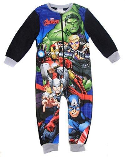 Super Hero Jungen Marvel DC Comics Alles in eins Pyjama Schlafanzug Nachtbekleidung - Avengers Bild grau Halsausschnitt, Größe 98