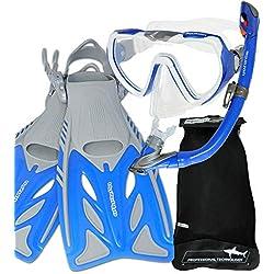 AQUAZON BARRACUDA kit de plongée, kit de nage, kit de plongée sous-marine, lunettes de plongée avec verre trempé anti-buée, tuba semi-sec, palmes réglables pour enfants, size:32/37